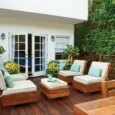 backyard wood deck with French doors, seating area