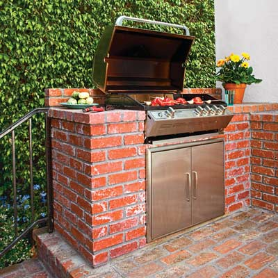 built-in grill with brick surround