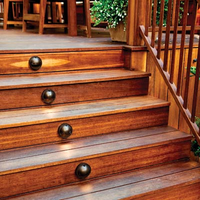 deck stairs with oil rubbed bronze dome lights