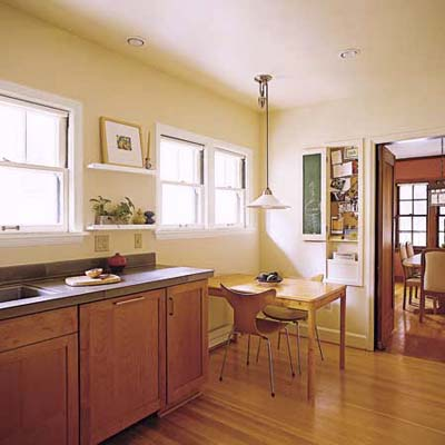 open plan for earth-friendly kitchen and eating areas