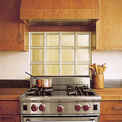translucent glass block windows for backsplash in earth-friendly kitchen