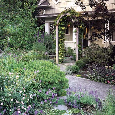 Seattle front yard with cedar arbor