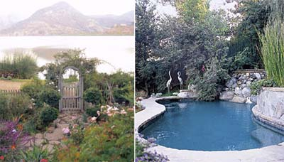 lakeside garden and pool