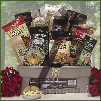 Great Arrivals Handyman Snacks gift basket with items in a functional toolbox
