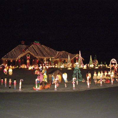 Home lighted for the holidays with over 30,000 lights and 400 lawn figures