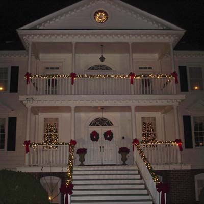 Christmas garlands on a house
