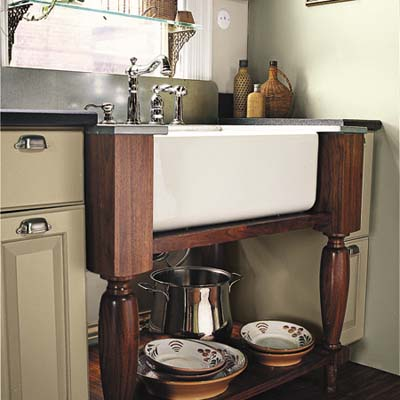 wash stand with open storage underneath 