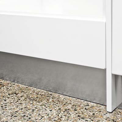 Stainless-steel toekicksto conceal cabinets' legs