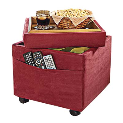 product photo of a storage ottoman with built-in tray