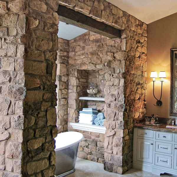 all about stone zen look bath with stone wall surrounding tub french country villa coronado