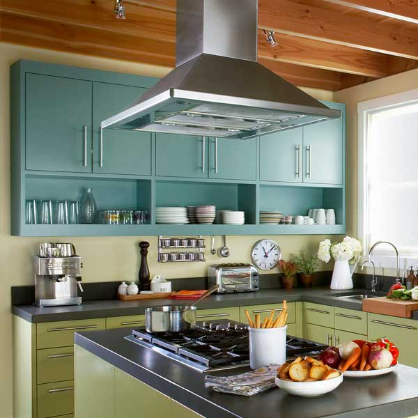 stainless steel chimney style hood over kitchen island cooktop, All About Vent Hoods