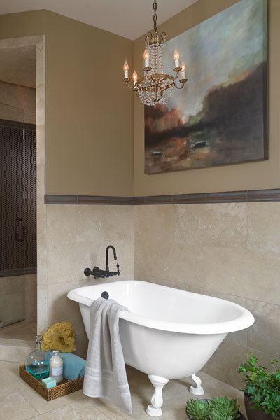 Chandelier Lit Tub A Bath With A Smarter Layout But