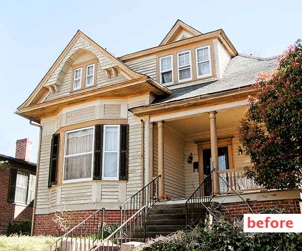 curb appeal boost on budget queen anne style home
