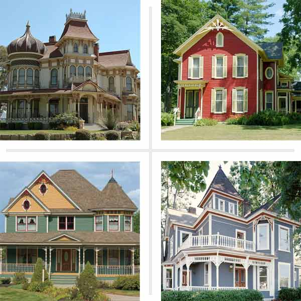 four examples of Paint-Color Ideas for Ornate Victorian-Era Houses