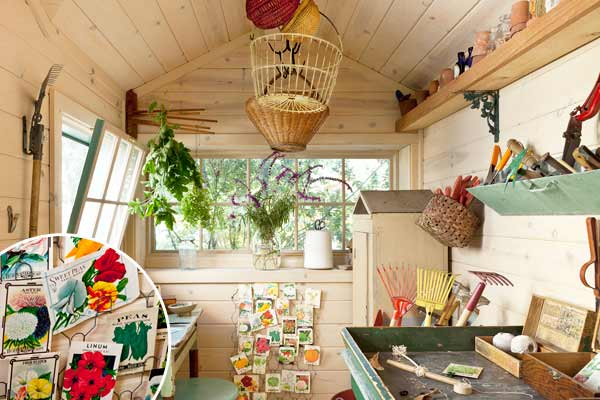 inside cottage style garden shed used as bonus room with old card rack to show off seed packets