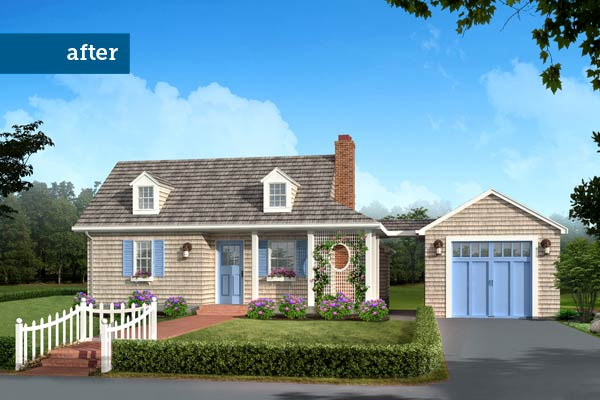 Photoshop redo of a 1940s cottage with Cape Cod-style elements