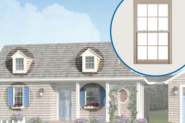 Photoshop redo of a 1940s cottage with focus on the windows
