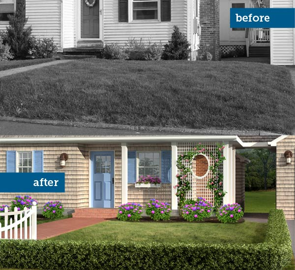 Photoshop redo of a 1940s cottage with focus on the landscaping