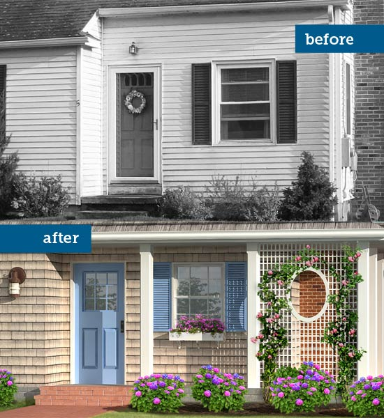 Photoshop redo of a 1940s cottage with focus on the porch