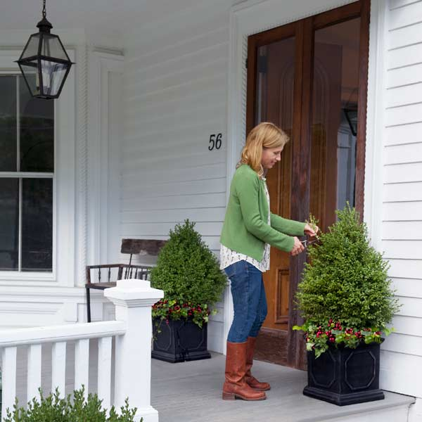 woman trimming plant on front porch, fast home fixes