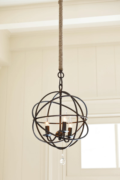 chandelier hanging with jute wrapped pole, fast fixes