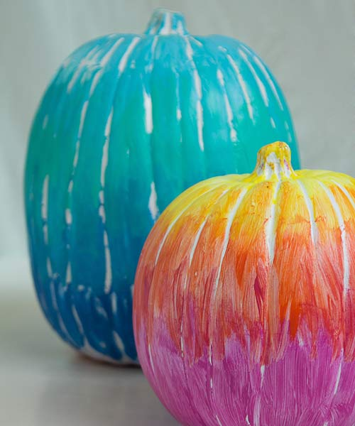 ombre color gradiant painted pumkin carving alternative