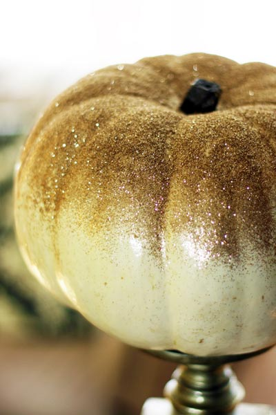 glitter ombre coating, painted pumkin carving alternative