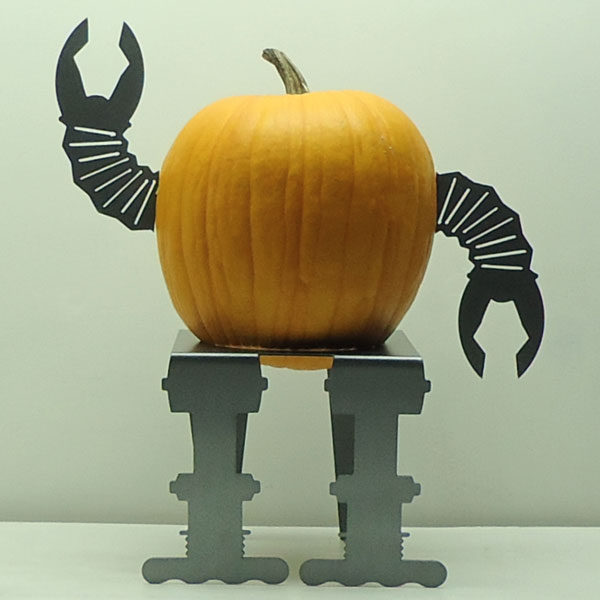 metal robot arms and legs attachments for pumpkins, painted pumkin carving alternative