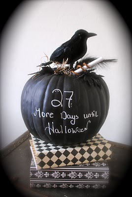 pumpkin painted with chalkboard paint, painted pumkin carving alternative