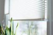 10 uses vinyl mini blinds window with partially open blinds