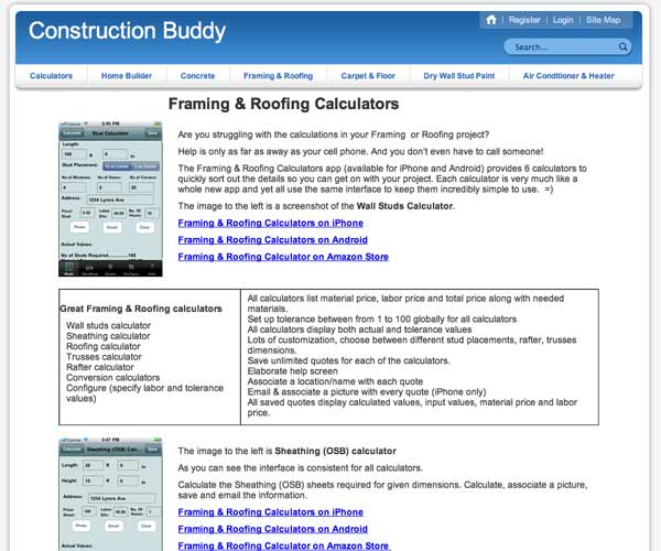 apps and websites to save money screen shot of constructionbuddy.net