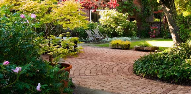 yard with brick walkway