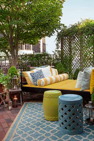 whole house remodel cape cod old restaurant patio outdoor rooms, double bed, outdoor cushions, ceramic garden stool