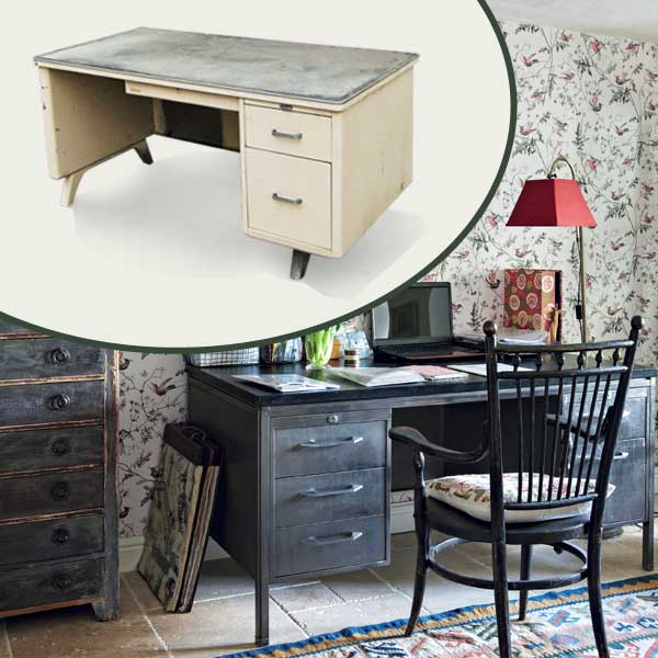 Mid-Century Steel Desk as part of the this old house get this look Quirky Cottage-Style Home Office gallery