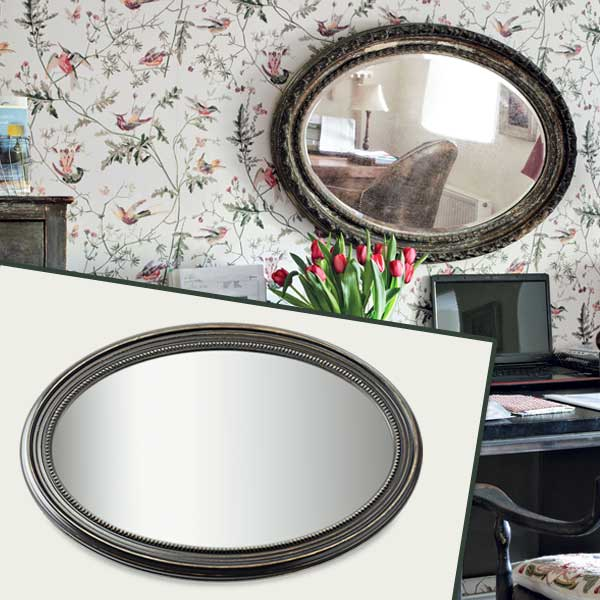 Oval Mirror as part of the this old house get this look Quirky Cottage-Style Home Office gallery