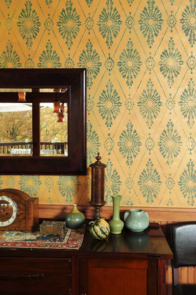 Elegant Damask example of the Stencil on Wallpaper Look