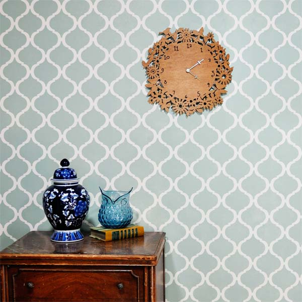 Traditional Tilework  example of the Stencil on Wallpaper Look