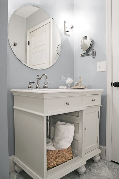 cool gray bathroom with marble topped vanity, reader budget remodel