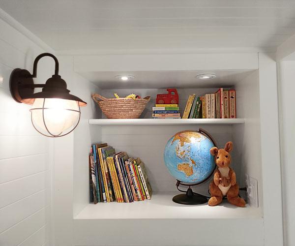 shelve storage in built-in storage bed, reader budget remodel