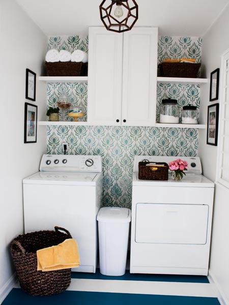 laundry space with painted stripe floor, stenciled wall, reader budget remodel
