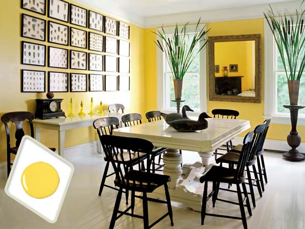Citrus yellow paint on dining room interior