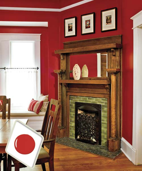 Deep red paint on dining room interior