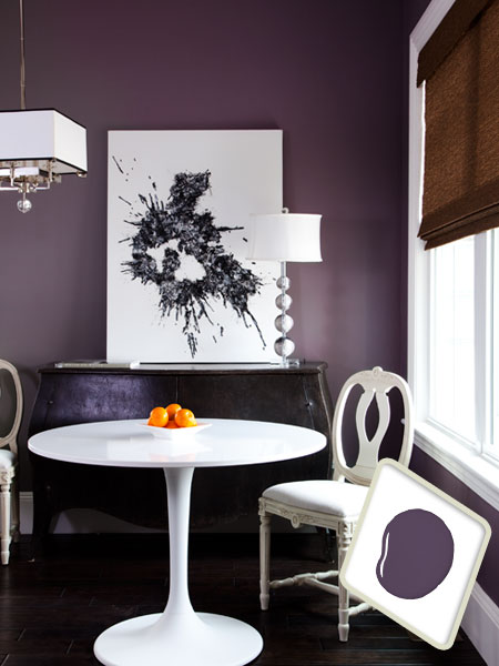 Charcoal purple paint on dining room interior