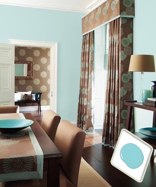 Aqua blue paint on dining room interior