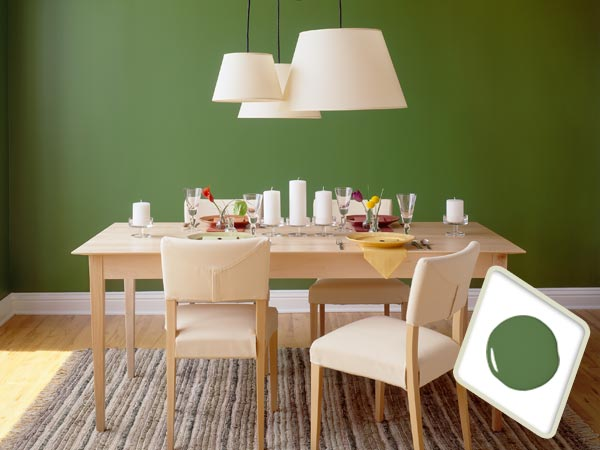 Grass green paint on dining room interior