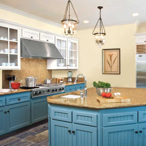 paint wall colors coordinating with kitchen countertops and floors ...