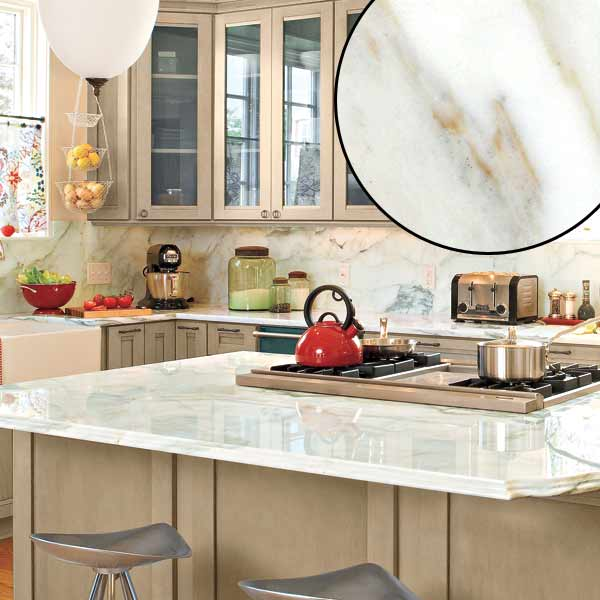 all about stone kitchen countertops crestola marble countertop with glass-front cabinets