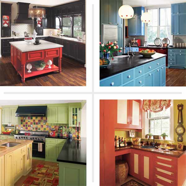 kitchens with colorful painted kitchen cabinets