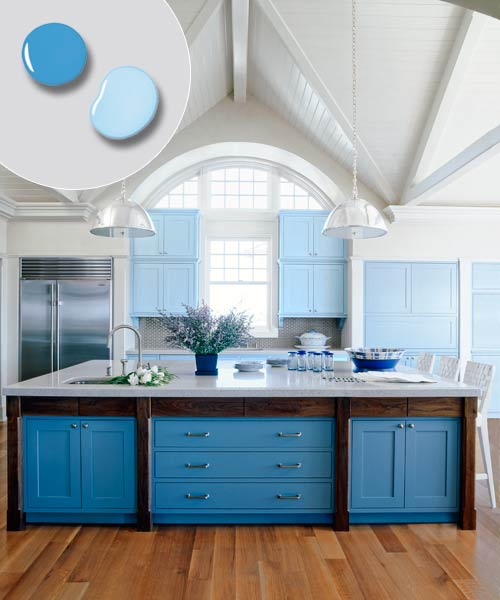 kitchen with kitchen island painted deep blue and kitchen cabinets ...