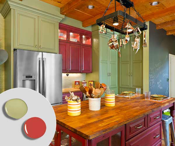 2 Barn Red Sage Green 12 Kitchen Cabinet Color Combos That Really Cook